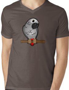 African Grey Mens V-Neck T-Shirt