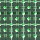 Penguins on Plaid - Green by RenaInnocenti