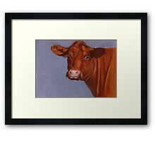 Red Hereford Beef Cow in Oil Pastel Framed Print