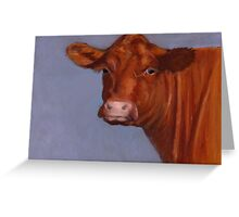 Red Hereford Beef Cow in Oil Pastel Greeting Card