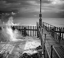 End of the beach B&W by Simon Duckworth