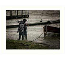 Splish splash, (kids enjoying the tide) Art Print
