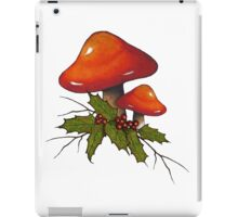 Christmas Holly with Red Mushrooms and Twigs iPad Case/Skin