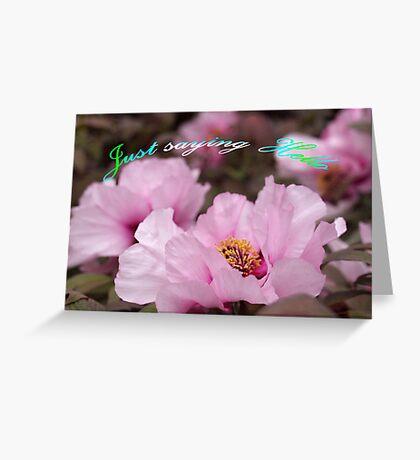 Pink Tree Peonies  Greeting Card