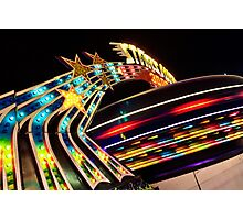 Carnival Ride Neon Lights Photographic Print