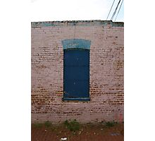 Blue boarded up window Photographic Print