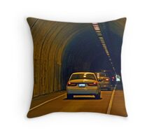 THROUGH THE ONE WAY AT A TIME TUNNEL Throw Pillow