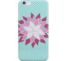 Modern Chic Baby Blue Polka Dots Flower iPhone Case/Skin