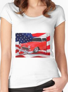 Patriotic 55 Chevy Women's Fitted Scoop T-Shirt