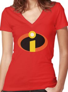 The Incredibles Logo Women's Fitted V-Neck T-Shirt