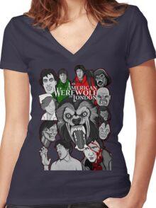 American Werewolf in London original collage art Women's Fitted V-Neck T-Shirt