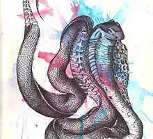 watercolor pen snake by musicalsurgery