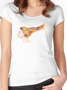 Girl With Colorful Hair Women's Fitted Scoop T-Shirt