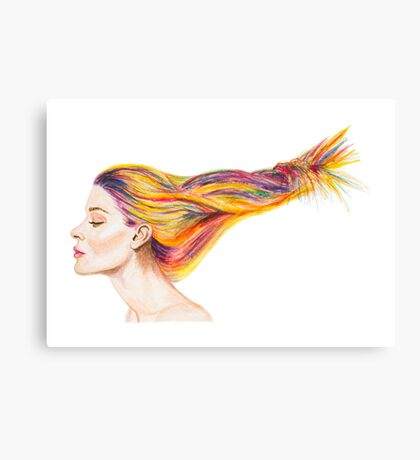 Girl With Colorful Hair Canvas Print