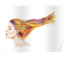 Girl With Colorful Hair Poster