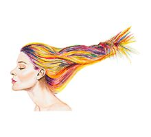Girl With Colorful Hair Photographic Print