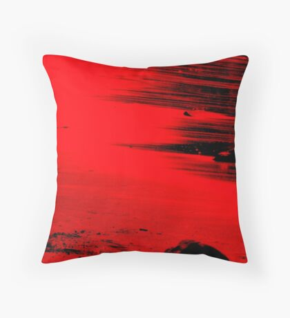 The red beach Throw Pillow