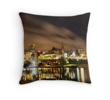 Melbourne by Night panorama Throw Pillow