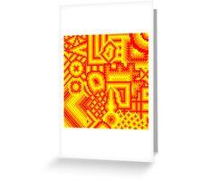 pixel mess red yellow Greeting Card