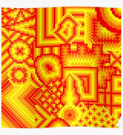 pixel mess red yellow Poster