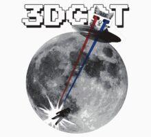 3D Cat Attacks the Moon (White T-shirt) by Greg Tippett