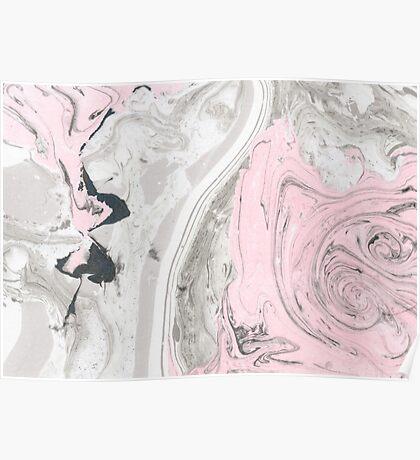 Suminagashi Love, Gray and Pink Poster