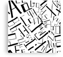Hand drawn black alphabet. Doodle pattern of typographic symbols Canvas Print