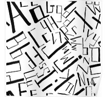 Hand drawn black alphabet. Doodle pattern of typographic symbols Poster