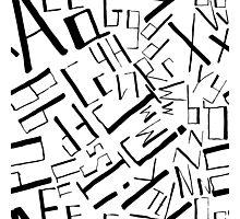 Hand drawn black alphabet. Doodle pattern of typographic symbols Photographic Print