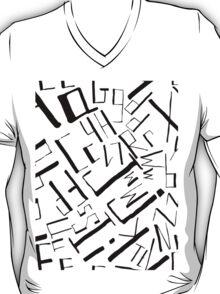 Hand drawn black alphabet. Doodle pattern of typographic symbols T-Shirt