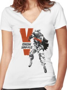 MGSV Retro Venom Snake Women's Fitted V-Neck T-Shirt