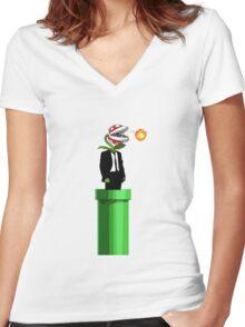 Piranha Plant Travel Women's Fitted V-Neck T-Shirt