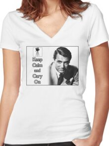 Keep Calm and Cary On Women's Fitted V-Neck T-Shirt