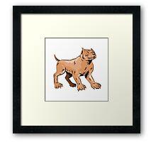 Pitbull Dog Mongrel Standing Etching Framed Print