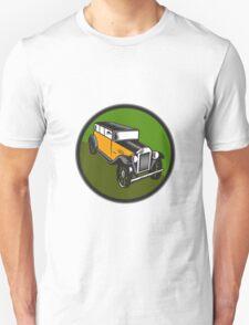 Vintage Car Hi Angle Circle Woodcut T-Shirt