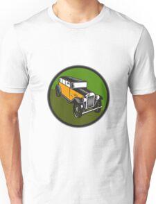 Vintage Car Hi Angle Circle Woodcut Unisex T-Shirt