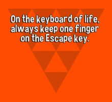 On the keyboard of life' always keep one finger on the Escape key. by margdbrown