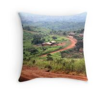 Orange Winding Road - Ring Road, Cameroon Throw Pillow