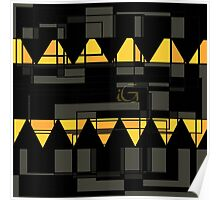 Geometric black and gold Poster