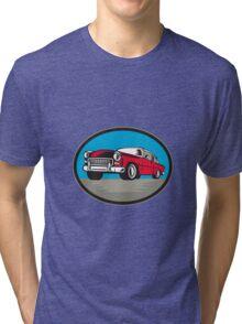 Vintage Classic Car Low Angle Woodcut Tri-blend T-Shirt