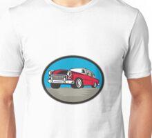 Vintage Classic Car Low Angle Woodcut Unisex T-Shirt