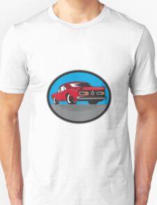 American Vintage Muscle Car Rear Woodcut T-Shirt