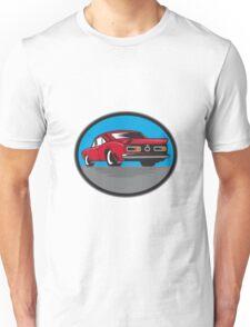 American Vintage Muscle Car Rear Woodcut Unisex T-Shirt