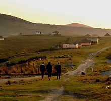 three friends strolling through a Xhosa village - Coffee Bay, Transkei by Glennisimo