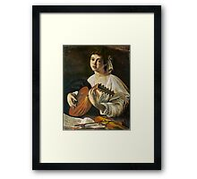 Lute Player in Pastel Framed Print