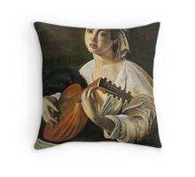 Lute Player in Pastel Throw Pillow