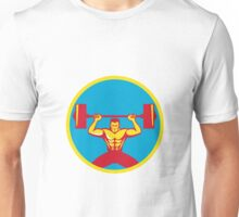Weightlifter Lifting Weights Front Circle Retro Unisex T-Shirt