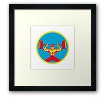 Weightlifter Lifting Weights Front Circle Retro Framed Print