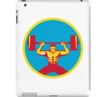 Weightlifter Lifting Weights Front Circle Retro iPad Case/Skin