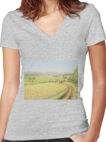 Tuscan Farmhouse, Tuscany, Italy Women's Fitted V-Neck T-Shirt